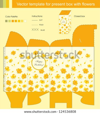 Vector template for present box with flowers