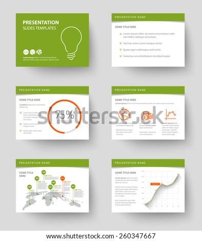 Vector Template for presentation slides with graphs and charts - green and red version