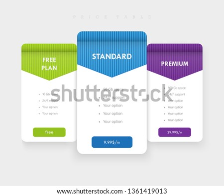 Vector template for price table / price list