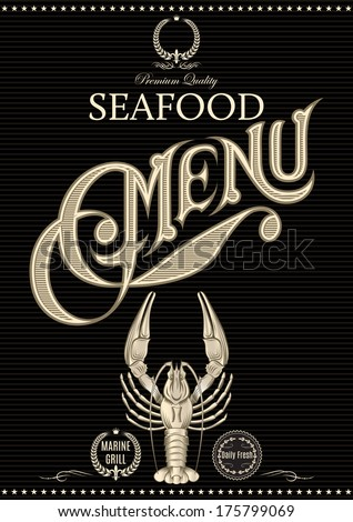 vector template for restaurant menu with crawfish