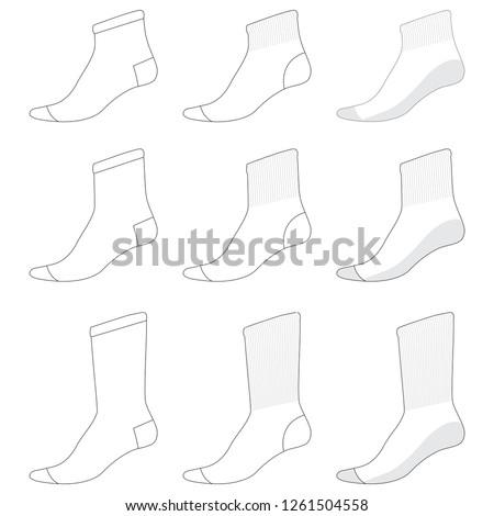 Vector template for socks