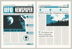 Vector template for the layout of the newspaper on the subject of UFOs. Newspaper columns with unreadable text, headlines and illustrations on the theme of extraterrestrial civilizations, alien, UFO