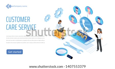 Vector template for website and app. Customer, client care and support. Helpline numder. Personal user service and relationship. Isometric illustration concept for your landing page, banner.