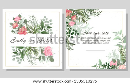 Vector template for wedding invitation. Green leaves, Magnolia flowers, green berries. All elements are isolated. Elegant design elements. #1305510295