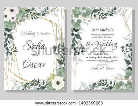 Vector template for wedding invitation. Polygonal abstract frame, anemone flowers, berries, green leaves, plants. #1402360283
