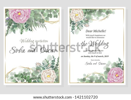 Vector template for wedding invitation. Polygonal gold figures, rose flowers, berries, green leaves and plants. #1421102720