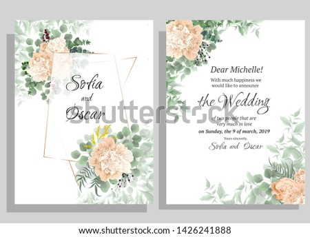 Vector template for wedding invitation. Polygonal gold frame, peony flowers, berries, green leaves and plants. #1426241888