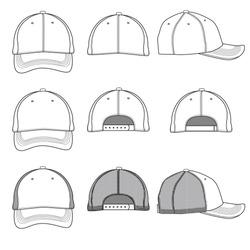 Vector template illustrations of a ball cap.