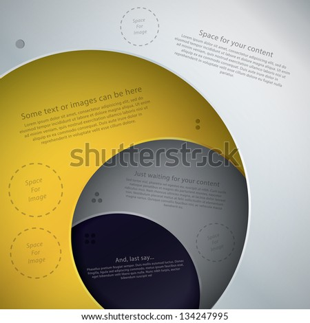 Vector template in modern design. Four plates in different colors with space for your text. Can be use as info graphic for your presentation or poster. Place for your text and images.