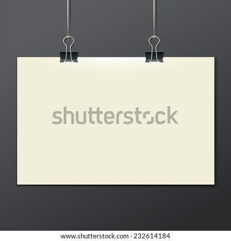 Vector template of a paper sheet, poster, picture frame, on a dark background, vector illustration eps 10