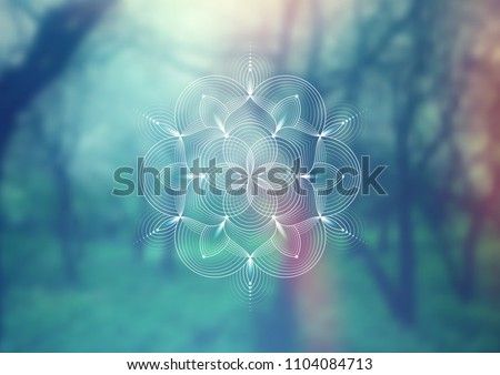 Vector template of banner, horizontal format; Spiritual sacred geometry;