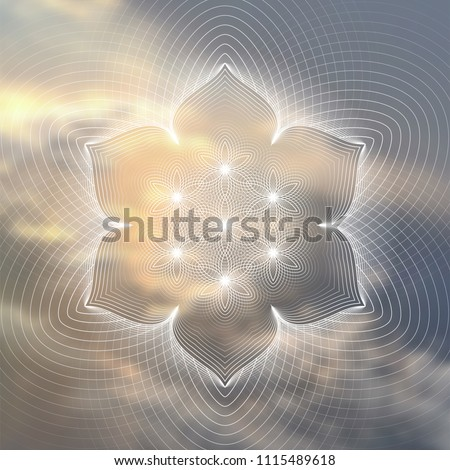 """Vector template of banner; Spiritual sacred geometry; """"Flower of life"""" and lotus on psychedelic natural photographic background; Yoga, meditation and relax."""