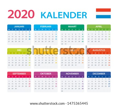 Vector template of color 2020 calendar - Dutch version