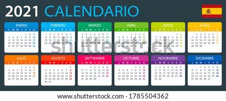 Vector template of color 2021 calendar - Spanish version
