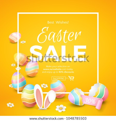Vector template of easter sale banner with 3d colored eggs, cartoon bunny ears, camomiles, pink ribbon, frame and broken eggshell on the orange background. For design of flyers with discount offers.