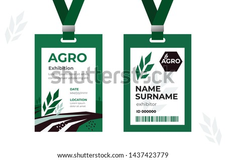 Vector template of ID card with strap. Design identity card for agricultural exhibition or business conference. Illustration of farming with field and wheat. Agro logo. Two sided authentication pass.