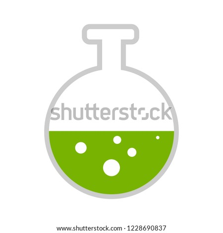 Vector template of logo of laboratory. Chemical or medical icon. Colorful bottle and test tubes