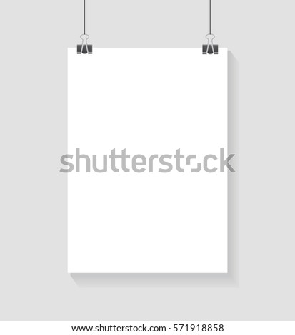 Vector template of poster on clips . Vertical blank A4 mockup advertising banner