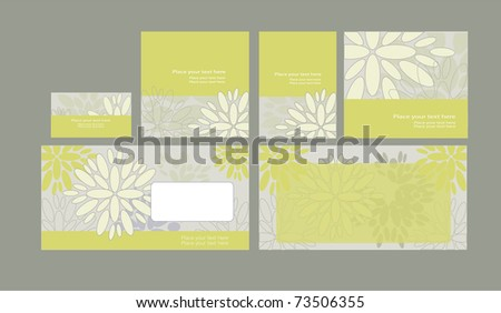 Vector template on floral background: envelope, business card and invitation on floral background, eps10