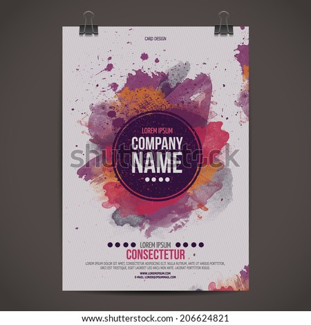Vector template poster with watercolor paint abstract background