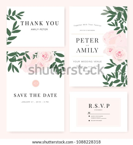 Vector template set. Wedding invitation, rsvp, thank you, save the date card design with elegant rose pink garden.  #1088228318