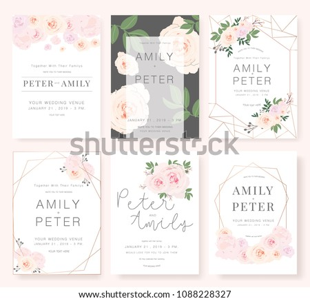 Vector template set. Wedding invitation, rsvp, thank you, save the date card design with elegant rose pink garden.  #1088228327