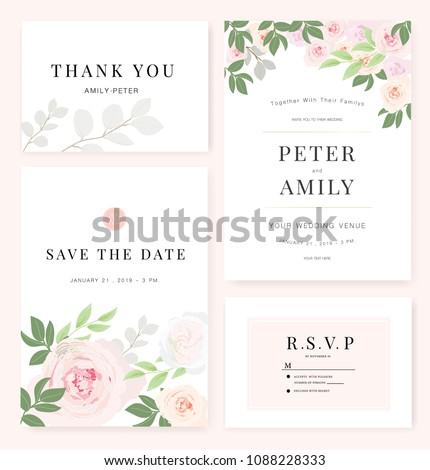 Vector template set. Wedding invitation, rsvp, thank you, save the date card design with elegant rose pink garden.  #1088228333