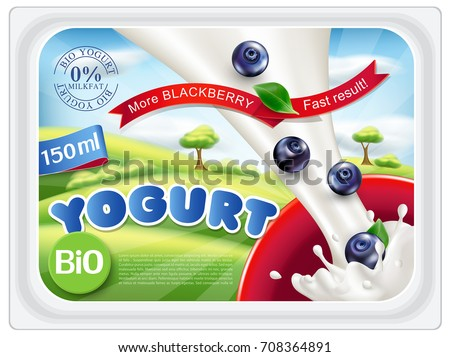 Vector template stickers for packing yogurt with blueberries on a blue sky background, green lawns. Milk splash. Element for design, advertising, promotion of dairy products.