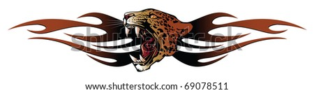 Vector template tattoo: panther head for tribal