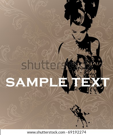 Vector template. The stylish girl on an abstract background