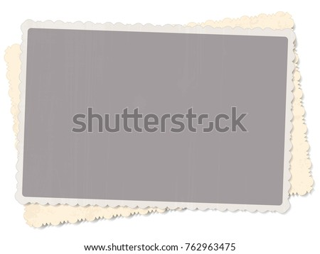vector template two old vintage photo with patterned edges isolated on white background with shadow for design