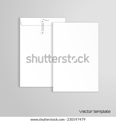 Vector template. Vertical big envelope with buttons. Realistic shadows.