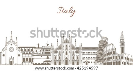 vector template with composition with famous landmarks of Italy