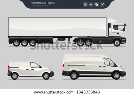 Vector template with detailed cargo truck and van. Isolated realistic cargo truck and van on gray background. Vector