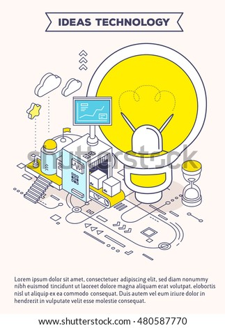 Vector template with illustration of light bulb, hourglass and three dimensional mechanism with conveyor and monitor with scheme. Generation of energy and creative ideas. 3d thin line art style design