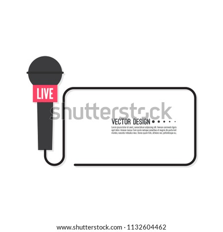 Vector template with microphone. Symbol breaking news on TV and radio.