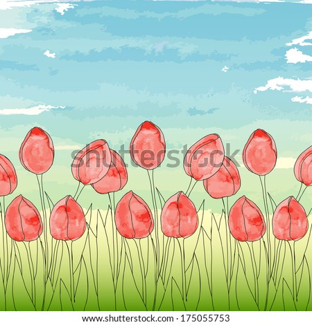 Vector template with spring flowers (tulips) on a blue sky background