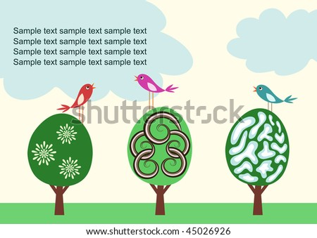 Vector template with stylized cute trees and birds