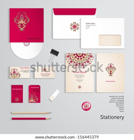 Vector templates. Beautiful floral pattern in vintage style. Simple delicate ornament.  Envelope, cards, business cards, tags, disc with packaging, magnet, pencils, eraser, clamp. Dimensions are given