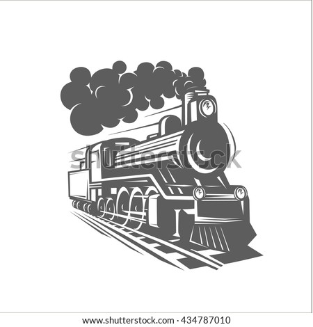 Vector templates with a locomotive, vintage train, logotype, illustration.