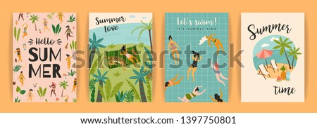 Vector templates with fun summer illustration. Design element for summer concept and other use.