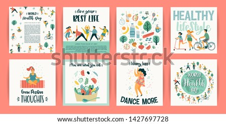 Vector templates with people leading an active healthy lifestyle. Concept for World Health Day and other use. Design element.