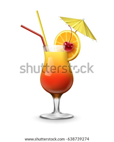 vector tequila sunrise cocktail