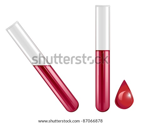 vector test tubes filled with blood, raster version available