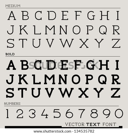 Vector Text Font, with letters and numbers. Vector illustration