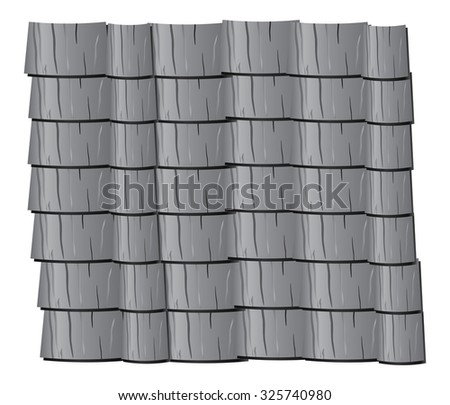 Vector Texture Illustration Of Grey Clay Roof Tiles, Slate.