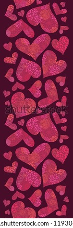 Vector Textured Red Hearts Vertical Seamless Pattern Background with many floral textured, ornate heart shapes. Perfect for Valentine's Day design.