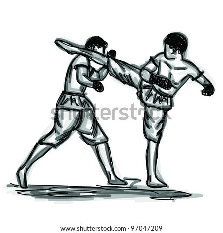 Vector Thai Boxing Collection : Muay Thai martial art popular around the world.