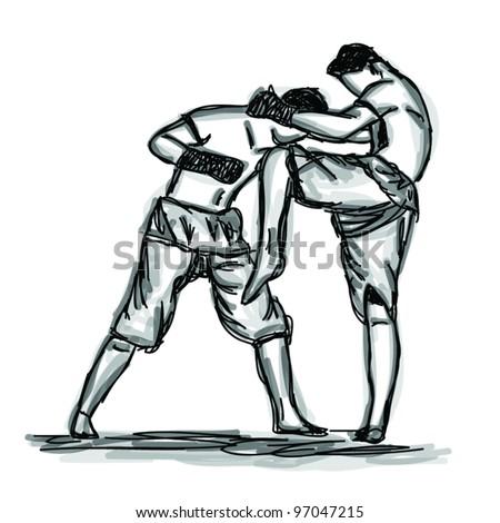 Vector Thai Boxing Collection : Muay Thai martial art popular around the world.