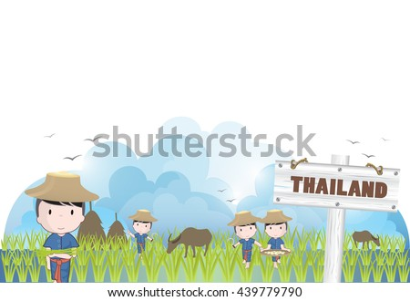 vector thailand farmers plants